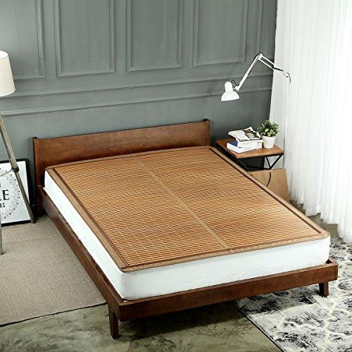 Qbedding Rattan Cooling Summer Sleeping Pad Bamboo & Rattan Reversible Combo Mat(Twin, Bamboo)