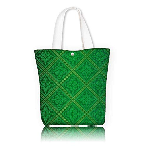 - Stylish Canvas Zippered Tote Bag —W16.5 x H14 x D7 INCH/Tote Laptop Beach Handbags Green Decor Vector Illustration Seamless Pattern of Foliage Wallpaper Decorative Pattern Forest Green.
