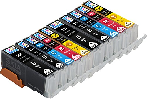 Skia Pixma iP7220, iX6820, MG5420, MG5422, MG5520, MG5522, MG5620, MG6420, MG6620, MX722, MX922 Compatible Ink Cartridges. 2 Pigment Black, 2 Black, 2 Cyan, 2 Magenta, 2 Yellow. (10 Pack)