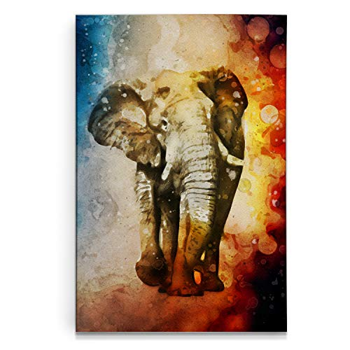 - Renditions Gallery Watercolor Elephant Gallery Wrapped Canvas Wall Art, 18x27, Tri-Color