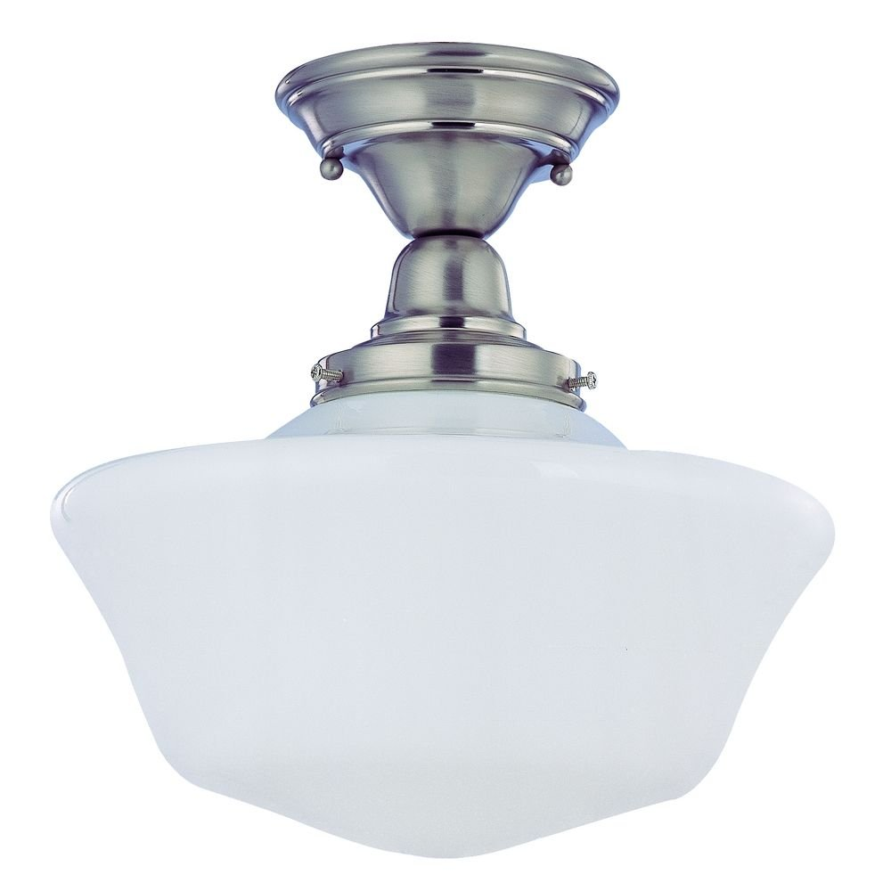 12 inch satin nickel schoolhouse semi flushmount ceiling light 12 inch satin nickel schoolhouse semi flushmount ceiling light semi flush mount ceiling light fixtures amazon aloadofball Image collections