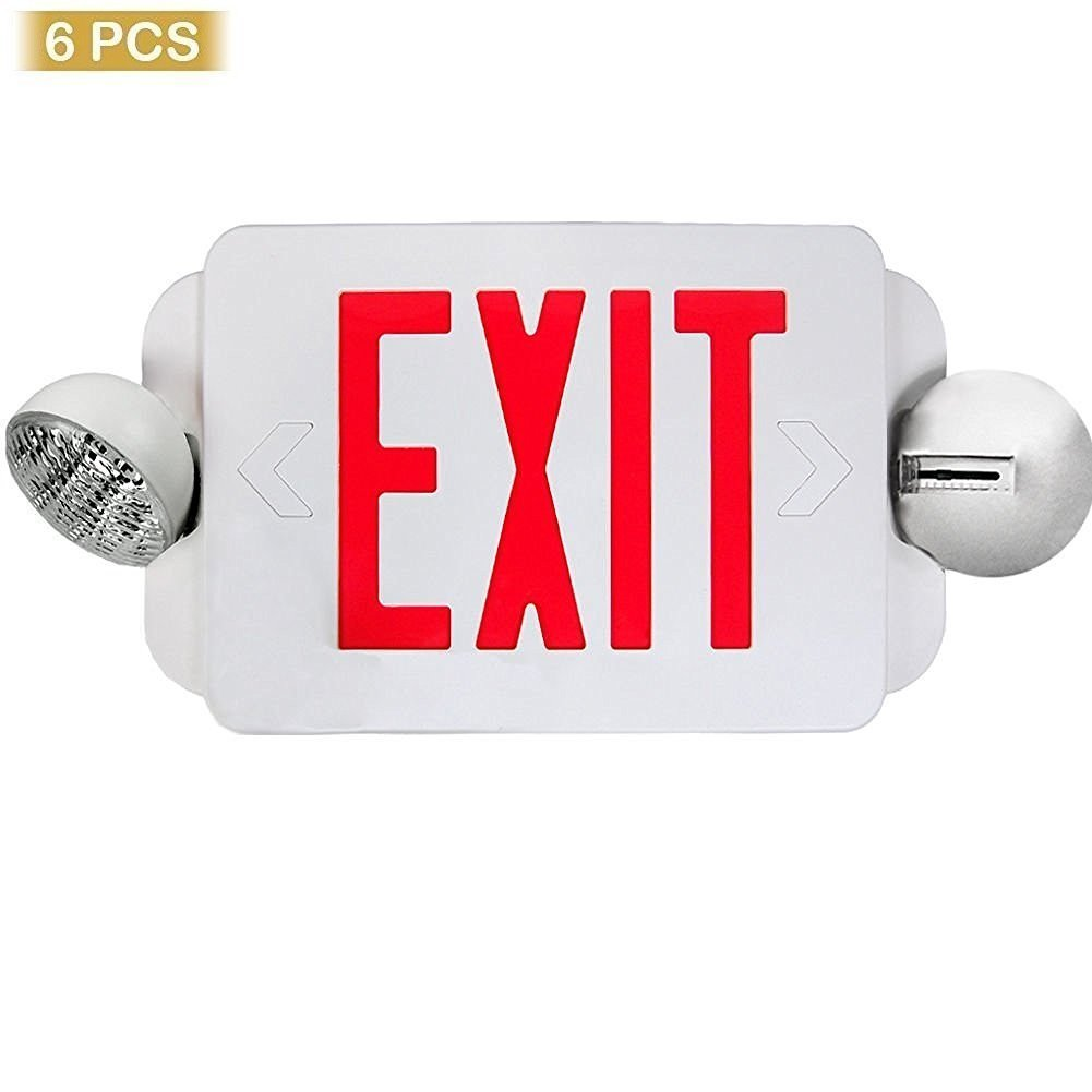 eTopLighting Red LED Exit Sign Emergency Light Combo with Battery Back-Up  UL924 ETL listed, EL2BR-1 - Commercial Lighted Exit Signs - Amazon.com