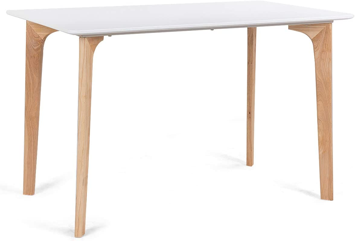 Giantex Modern Dining Table Mid-Century Home Dining Room Kitchen Table w Rectangular Top Wood Legs 47.5 x 27.5 White