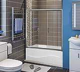 ELEGANT Sliding Bathtub Glass Shower Doors, 58.5
