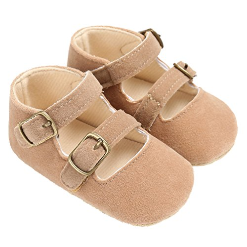 Baby Girls Double Buckle Straps Suede Mary Jane Soft Sole Princess Dress Shoes Yellow Size -