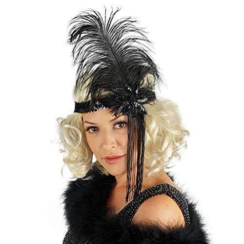 ZUCKER Flapper Headband w/Ostrich Feather and Tassel - 1920's Style Gatsby Headpiece Costume Hair Accessories ()