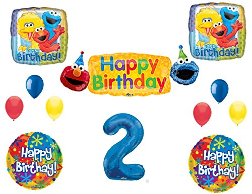 SESAME STREET 2nd Banner Happy Birthday Party Balloons Decoration Supplies Elmo Cookie Monster -