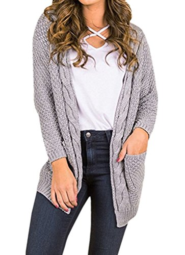 (WO-STAR Womens Cardigan Long Sleeve Open Front Marled Rib Trim Pointelle Sweater)