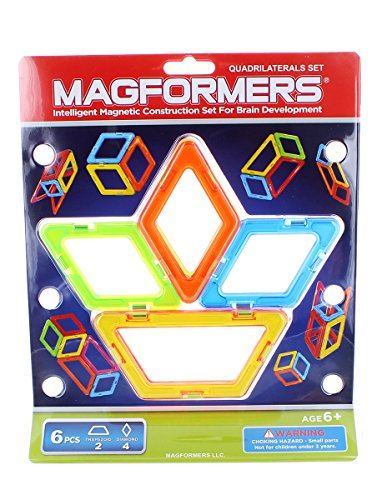 Magformers 6-Piece Add-On Magnetic Construction Set: Quadrilaterals