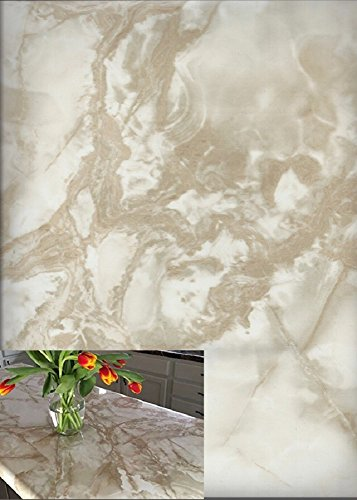 Instant White Caramel Riviera Marble Self Adhesive Vinyl Countertop Contact Paper Peel and Stick 36