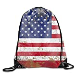 USA Flag Unisex Home Gym Sack Bag Sport Drawstring Backpack Bag