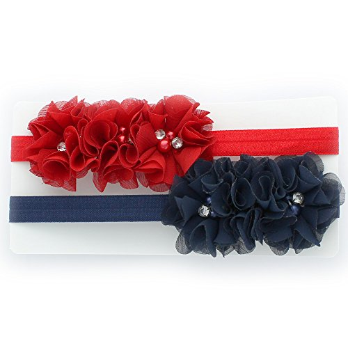 My Lello Girls Chiffon Fabric Beaded Flower Lined Stretchy Elastic Headbands Pair (Red/Navy)