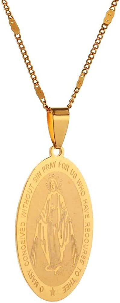 Stainless Steel Mary Conceived Without Sin Medal Charm Virgin Mary Pendant Necklace Jewelry