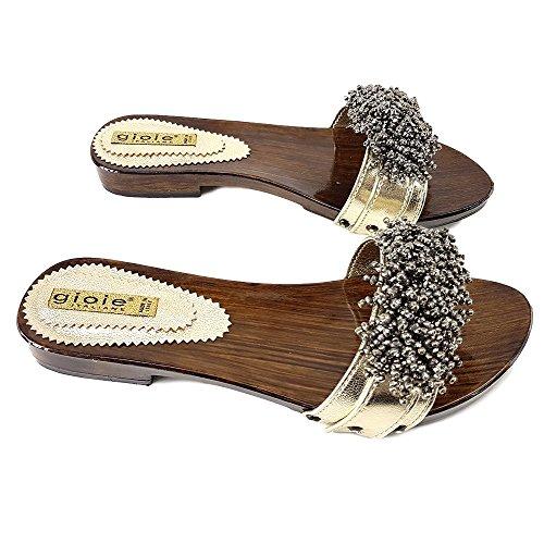 Oro 12536 Zoccoli kiara Oro Pelle Comodi shoes Bassi gq4S6