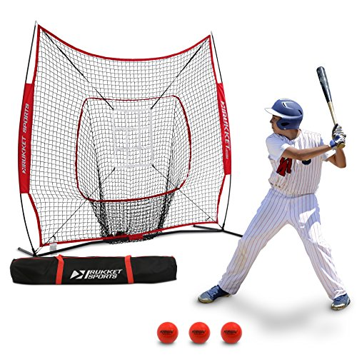 Rukket 6pc Baseball / Softball Bundle | 7x7 Hitting Net | 3 Weighted Training Balls | Strike Zone Target | Carry Bag | Practice Batting, Pitching, Catching | Backstop Screen Equipment Training Aids by Rukket Sports