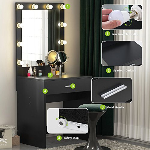 Tribesigns Vanity Set with Lighted Mirror, Black