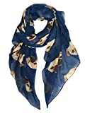 GERINLY Animal Print Scarves: Cute Dogs Pattern Voile Oblong Scarf (Blue)