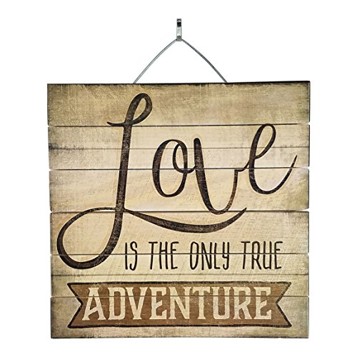 Love Is the Only True Adventure Inspirational Reclaimed Wood Sign, Rustic Home Decor Plaque