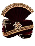 INMONARCH Mens Crafted With Stone Embroidery Turban Pagari Safa Groom Hats TU1094 22H-Inch Maroon