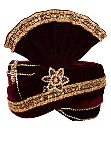 INMONARCH Mens Crafted With Stone Embroidery Turban Pagari Safa Groom Hats TU1094 22H-Inch Maroon by INMONARCH