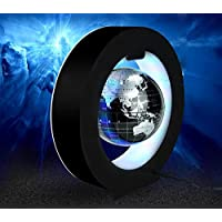 Eplze O Shape Floating Globe 4 inches with LED Lights Magnetic Field Levitation Education Globe for Home Office Decoration
