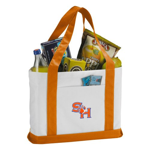 SHSU Contender White/Orange Canvas Tote 'SH Paw Official Logo' by CollegeFanGear