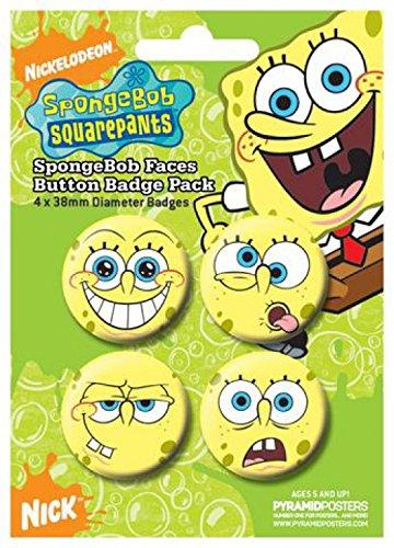 Set: SpongeBob SquarePants, Faces, 4 X 38mm Badges Badge Pack (6x4 inches) and 1x 1art1® surprise Sticker (Decal Set Spongebob)