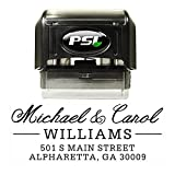 Self Inking Return Address Stamp, Personalized with 4 Lines of Custom Text - Serif & Script Font, Black Ink