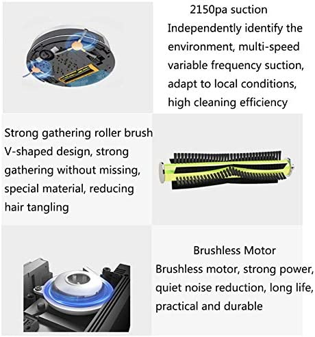 LIERSI Aspirateur Robot, Aspirateur Robot, 2150Pa Aspiration, Synchronisation Fonction, Silencieux, Auto Charge Aspirateur Robot Pet Hair, Hard Floor, Tapis