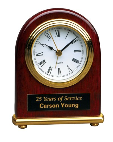 (Personalized 4 x 5 Rosewood Piano Finish Arch Desk Clock - BRAND NEW)