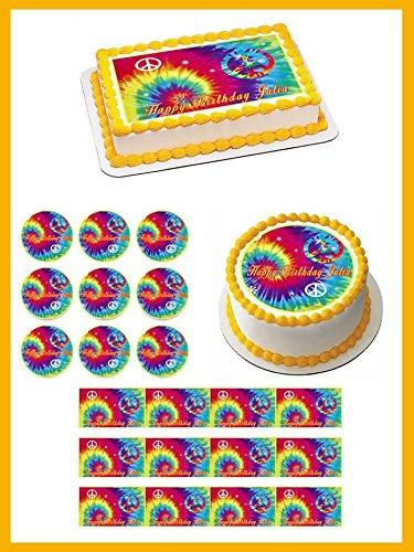 Tie Dye Peace - Edible Cupcake Toppers - 3.25