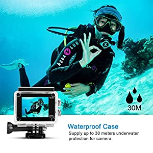 Action Camera WeyTy X6S 4K 30m Underwater Camera 16MP Wifi Sport Camera 170°Wide Angle Waterproof Camera With 2x1350 mAh Rechargeable Batteries And Full GoPro Camera Mount Kit