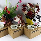 Lightningstore Automatic Brown Black and White Dog Puppy Coin Piggy Bank Box For Kids - Your Pet Will Come Out and Get Your Coin - Excellent for Encouraging Money Saving for Your Kids