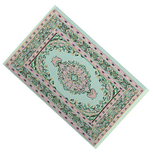 DYNWAVE Handmade Miniatures Rug Turkish Style Carpet Floor Covering, Dollhouse Accessory and Furniture, Vintage Style Creen Color