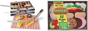 Melissa & Doug Wooden Grill & Serve BBQ Set & Felt Food Sandwich Set