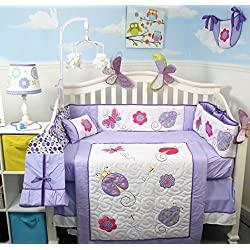 SOHO Lavender Purple Little Lady Crib Nursery Bedding Set 14 pcs