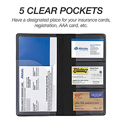 Samsill Car Registration Holder - Vehicle Glovebox Organizer Wallet for Insurance Documents, Key Contact Information Cards, and More, Black: Automotive