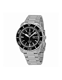 Seiko Men's SNZH55 Silver Stainless-Steel Automatic Watch with Black Dial