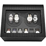 CRITIRON Luxury 4+6 Automatic Watch Winder Luxury PU Leather Display Box Storage Case Black (4+6)