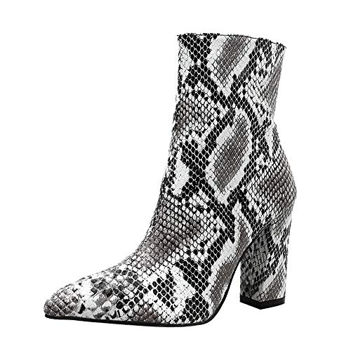 Women Snakeskin High Chunky Heel Boots,Cenglings Leopard Print Pointed Toe Zipper Ankle Boots Pumps Slim Party Shoes White