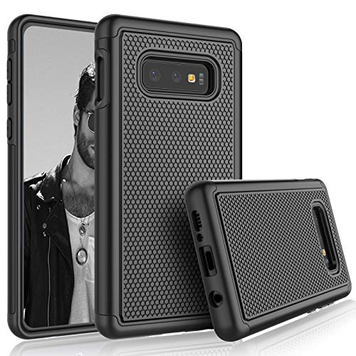 Tekcoo for Galaxy S10e Case, for Galaxy S10e Sturdy Case, [Tmajor] Shock Absorbing [Black] Rubber Silicone & Plastic Scratch Resistant Rugged Solid Bumper Grip Cute Hard Case Cover for Samsung S10e