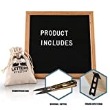 Black Felt Letter Board 10x10 inches. Letter Board with 480 White Changeable Letters, Symbols, Emoji and Numbers, Oak Wood Frame with Convenient Stand, Comes with Canvas Bag and Scissors.