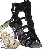 Women's Ballroom Dance Shoes Tango Wedding Salsa Dance Shoes Black Velvet Sera7026EB Comfortable - Very Fine 2.5'' Heel 8 M US [Bundle of 5]