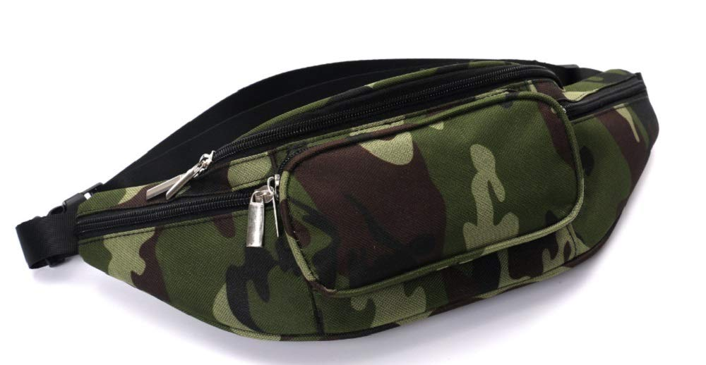 Camouflage Army Pattern Fanny Waist Pack - Fanny Pack with 5 Pockets Waterproof Shell and Adjustable Strap - Fanny Pack for Men or Women