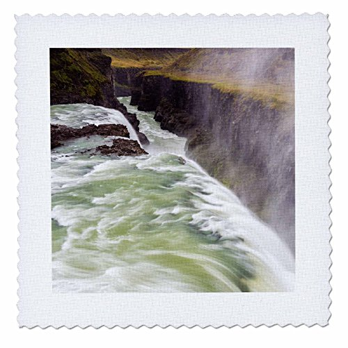 3dRose Iceland, Misty Gulfoss. Waterfall flowing into river. - Quilt Square, 6 by 6-inch (qs_206064_2)