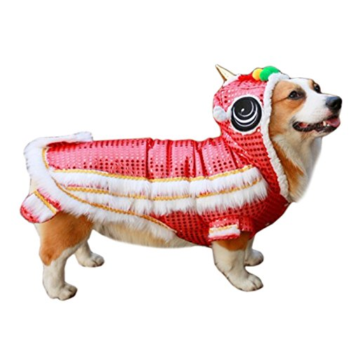 Alfie Pet by Petoga Couture - Leone Lion Dance Costume - Color: Red, Size: Small