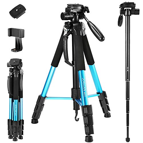 72-Inch Camera Tripod, Aluminum Tripod & Monopod Full Size for DSLR with 2 Quick Release Plates and Convenient Carrying Case Ideal for Travel and Work – MH1 Blue