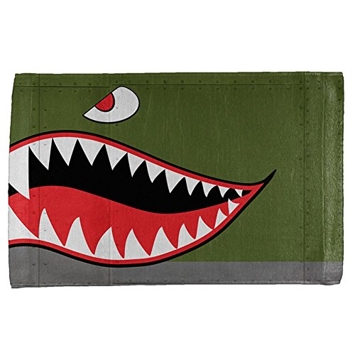 Halloween WWII Flying Tiger Fighter Shark Nose Art All Over Hand Towel Multi Standard One Size