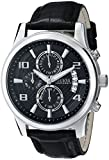 GUESS Men's U0076G1 Black Classic Crocodile-Grained Leather Strap Chronograph Watch