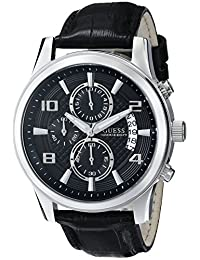 GUESS Men's U0076G1 Black Classic Stainless Steel Watch with Leather Band